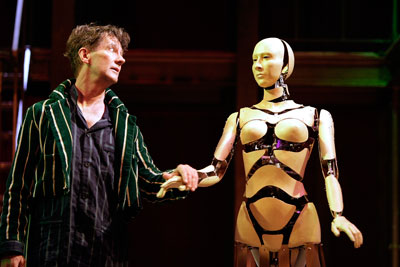 Theatre image of man and robot